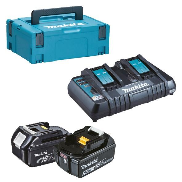 Makita KIT ENERGY: 2 Akkus 18V 5,0Ah + Doppel-Ladegerät + MAKPAC Gr.1