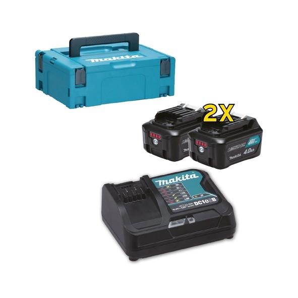 Makita KIT ENERGY: 2 batterie 12Vmax 4,0Ah + caricabatt. rapido + MAKPAC tipo 1