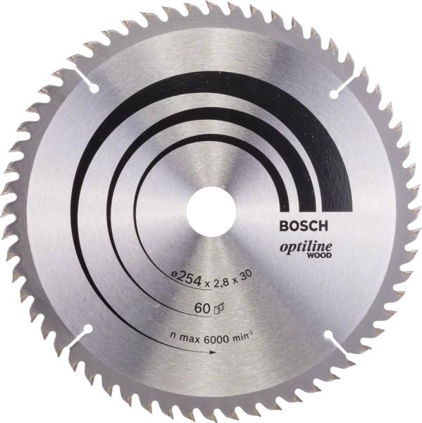 Bosch Kreissägeblatt 254x2,8x30mm Z=60 Optiline Wood