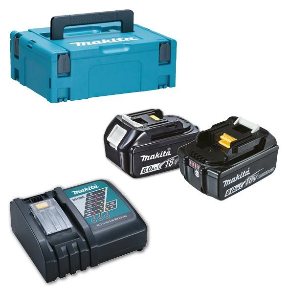 Makita KIT ENERGY: 2 Akkus 18V 6,0Ah + Ladegerät + MAKPAC Gr.1